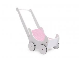 Lėlių vežimėlis - stumdukas BALTAS